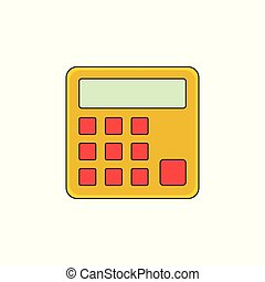 Calculator Vector Outline Icon Illustration