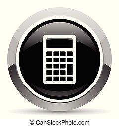 Calculator vector steel icon. Chrome border round web...