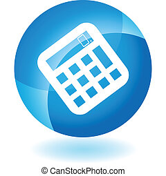 Calculator web button isolated on a background