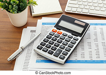Calculator with accounting data for accounting concept