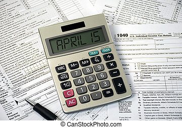 calculator with April 15 date on tax form - tax deadline ...