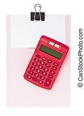 calculator with binder clip and blank paper