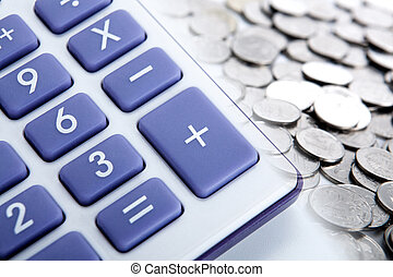 calculator with blue buttons and ruble coins