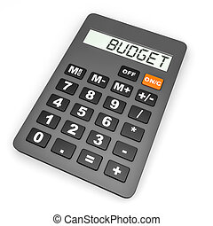 Calculator with BUDGET on display.