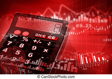 calculator with business charts and graphs
