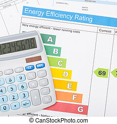 Calculator with energy efficiency chart - 1 to 1 ratio