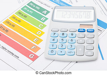 Calculator with energy efficiency chart - studio shot