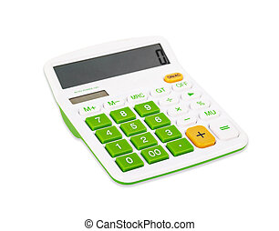 Calculator with green button.
