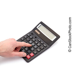 Calculator with hand on white