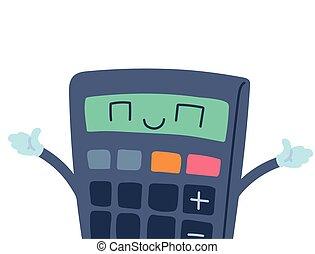 calculator with happy face cartoon