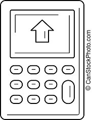 Calculator with house on display line icon.