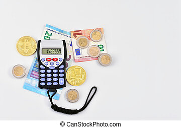 calculator with money, coins and virtual money