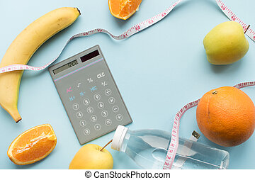 Healthy eating concept - calculate daily nutrition intake