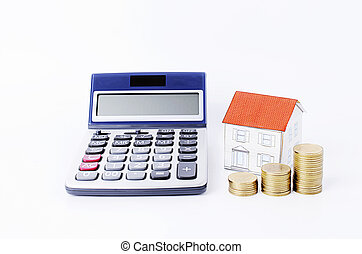 Calculator with paper house and coins stack on white backgrounds