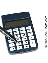 Calculator with pen on white background