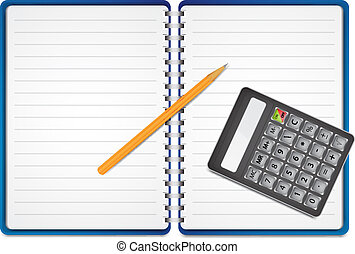 Calculator with pencil on paper