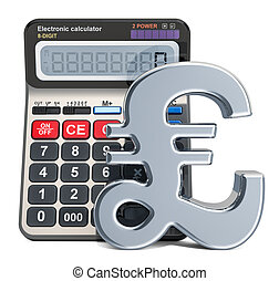Calculator with pound sterling symbol, 3D rendering