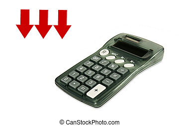 Calculator with red arrows