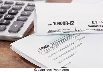 Calculator with tax form