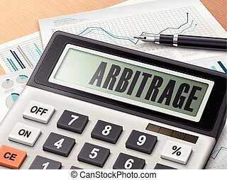 calculator with the word arbitrage