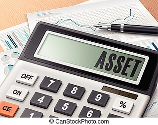 calculator with the word asset on the display
