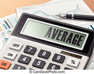 calculator with the word average