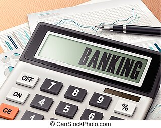 calculator with the word banking