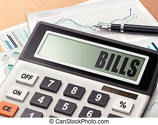 calculator with the word bills