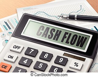 calculator with the word cash flow on the display
