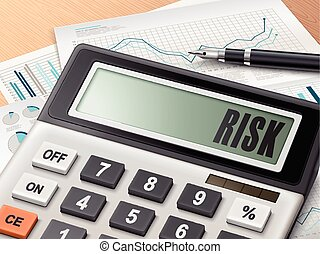 calculator with the word risk on the display