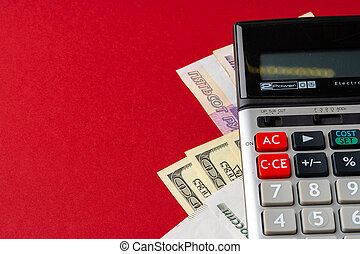 Calculator with US Dollars and Russian Rubles money