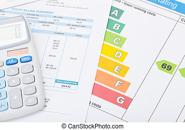 Calculator with utility bill and energy rating chart