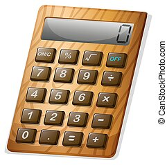 Calculator with wooden frame