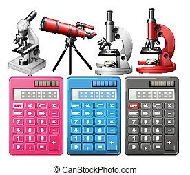 Calculators and microscopes on white background