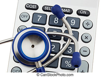 Calculators and stethoscope - A stethoscope is located on a...
