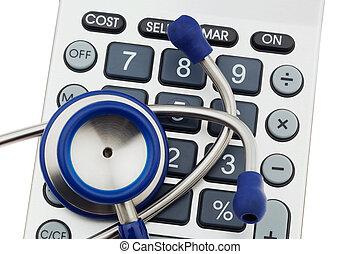 Calculators and stethoscope