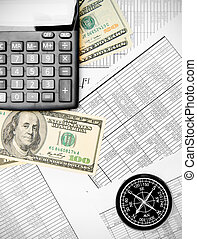 Calculators, money and compass on documents