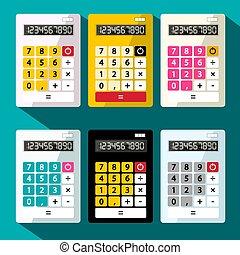 Calculators Set. Flat Design Vector Calculator.