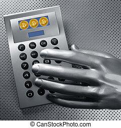 calculatrice, à, bitcoin, btc, monnaie, et, futuriste, main