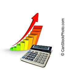 calculatrice, à, profit, diagramme
