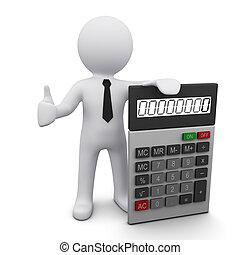 calculatrice, 3d, homme