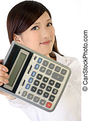 calculatrice, affaires femme, tenue