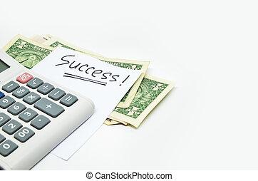 calculatrice, argent, et, reussite, mot