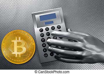 calculatrice, bitcoin, main, btc, monnaie, futuriste