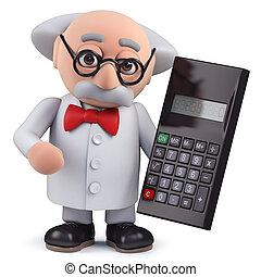 calculatrice, caractère, tenue, scientifique, numérique, 3d