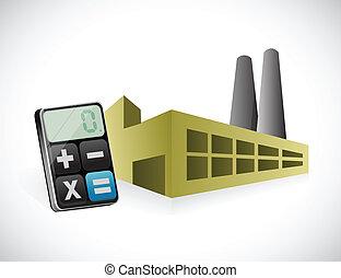 calculatrice, conception, usine, illustration
