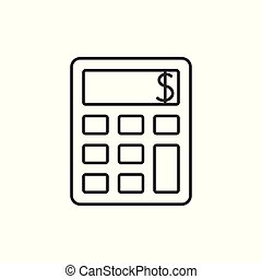 calculatrice, contour, icône