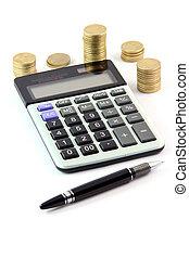 calculatrice, et, argent