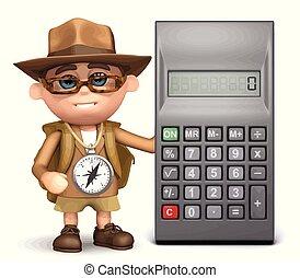 calculatrice, explorateur, 3d