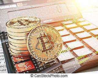 calculatrice, graph., bitcoin, crypto, monnaie, commerce, btc, monnaie, concept.